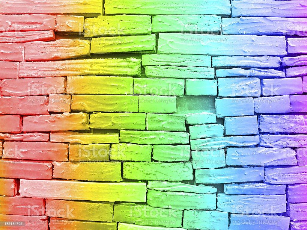Rainbow brick wall royalty-free stock photo