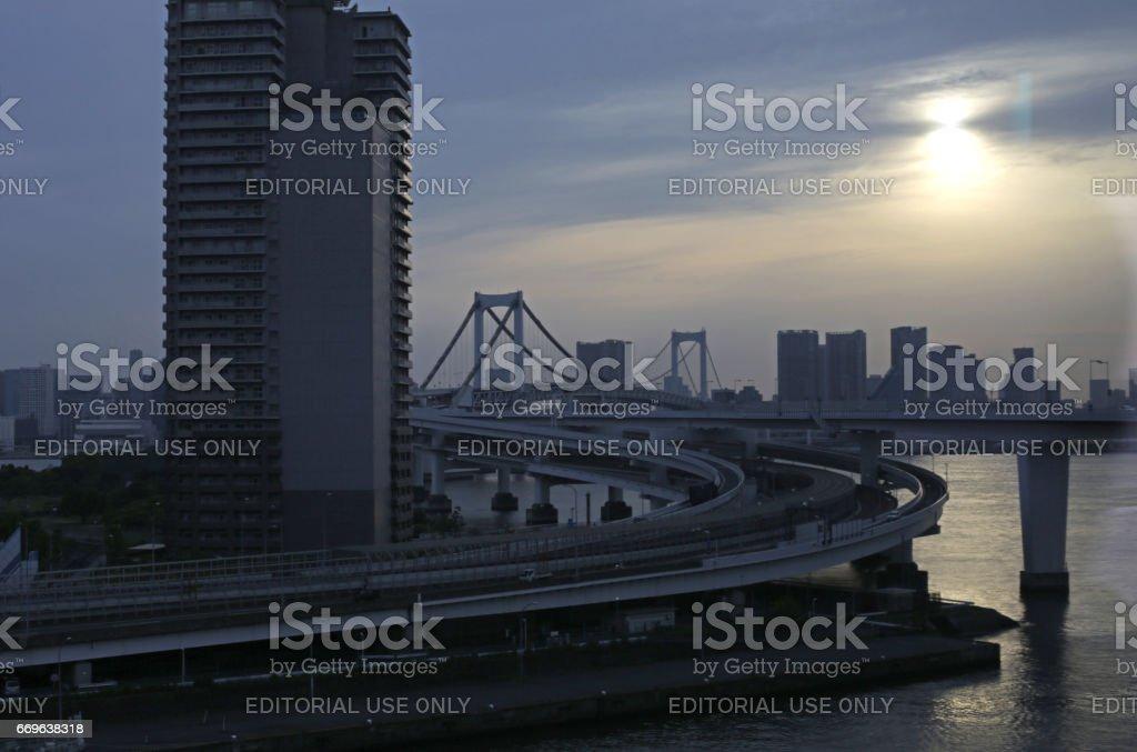 Rainbow Bridge above Tokyo Bay, Shuto Expressway, No. 11 Daiba Route stock photo