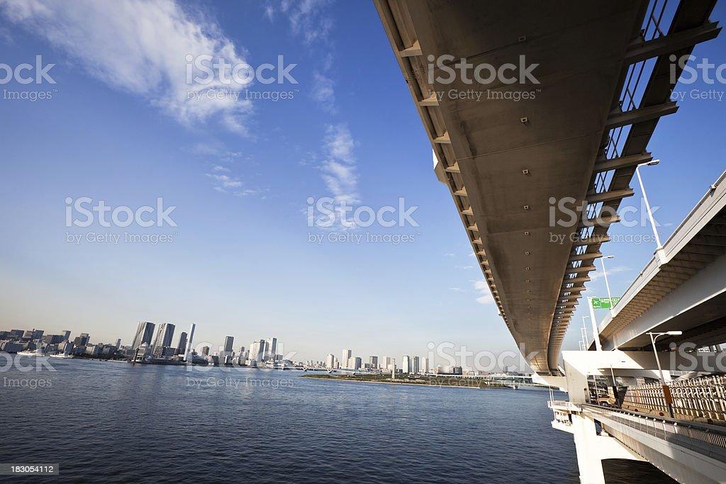 Rainbow Bridge and Tokyo Bay, Japan stock photo
