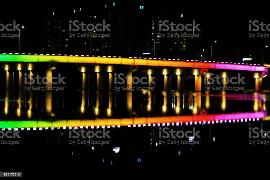 Rainbow Bridge, colorful bridge over a river royalty-free stock photo