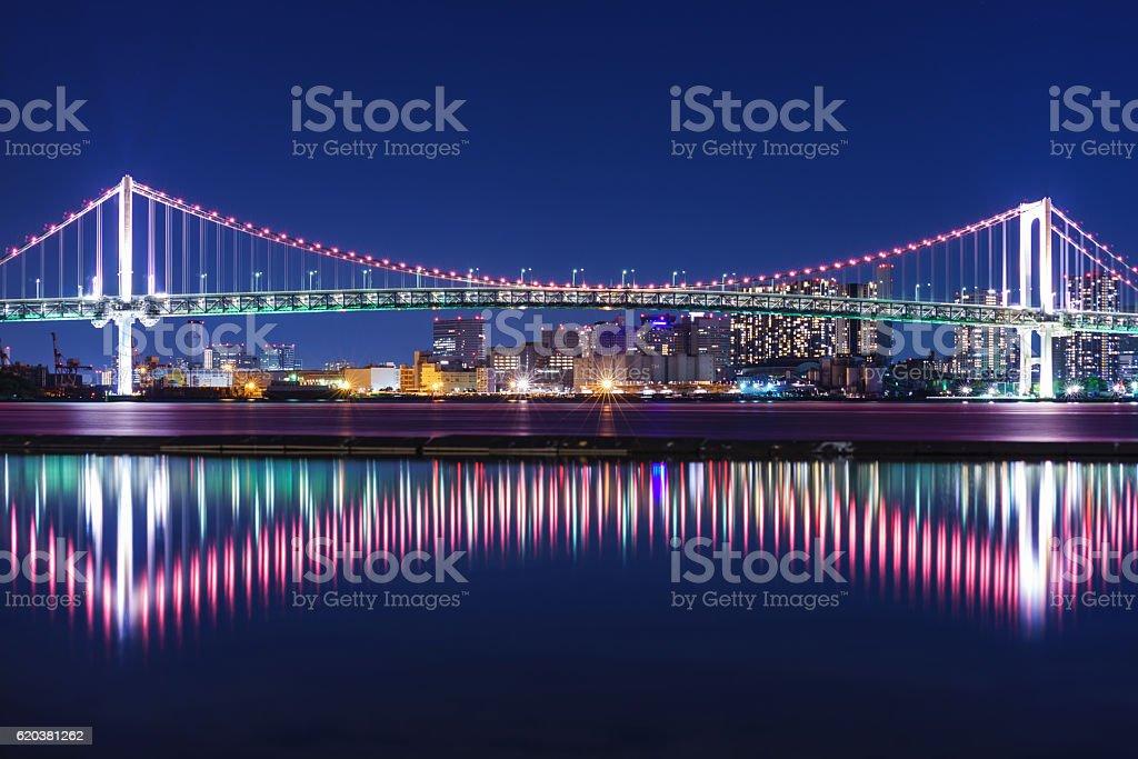 Rainbow Bridge Illuminated Red Light ストックフォト