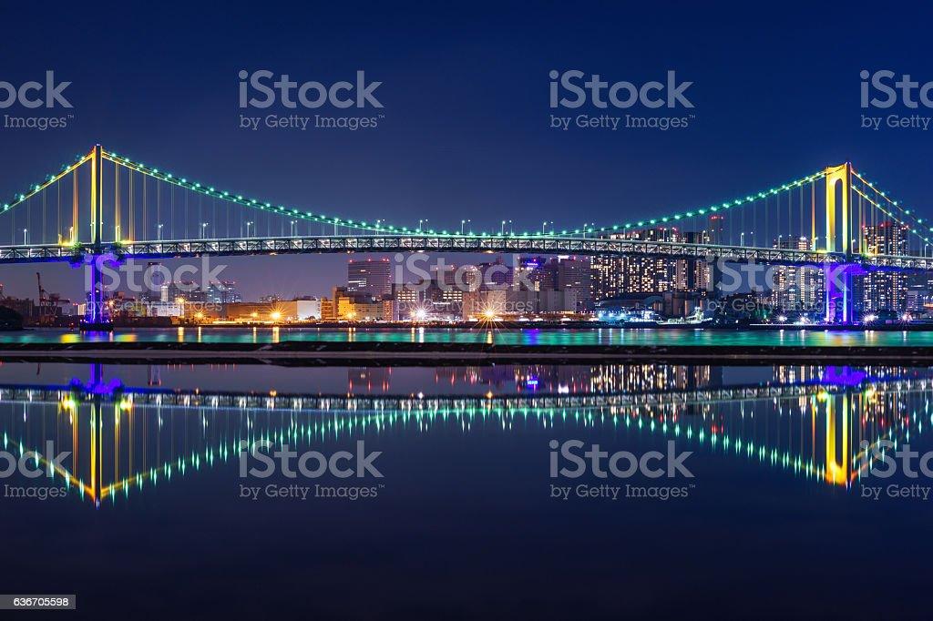 Rainbow Bridge Illuminated with Rainbow and Green Light ストックフォト