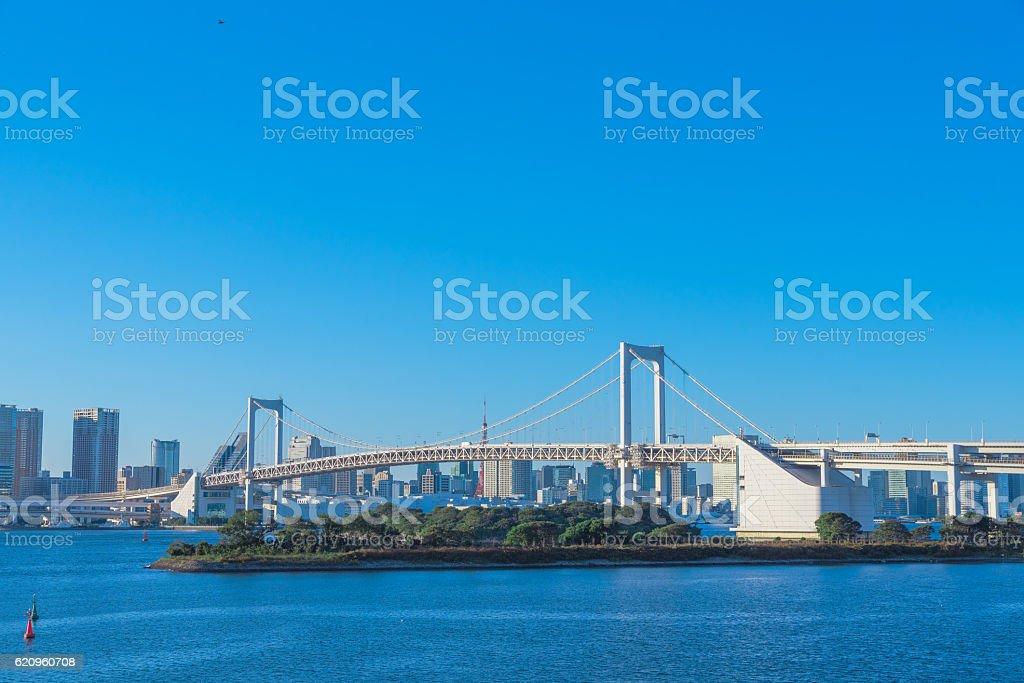 Rainbow Bridge in Odaiba, Tokyo stock photo