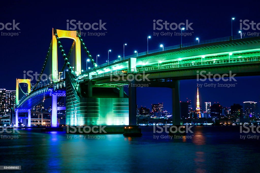 Rainbow Bridge in Tokyo. stock photo