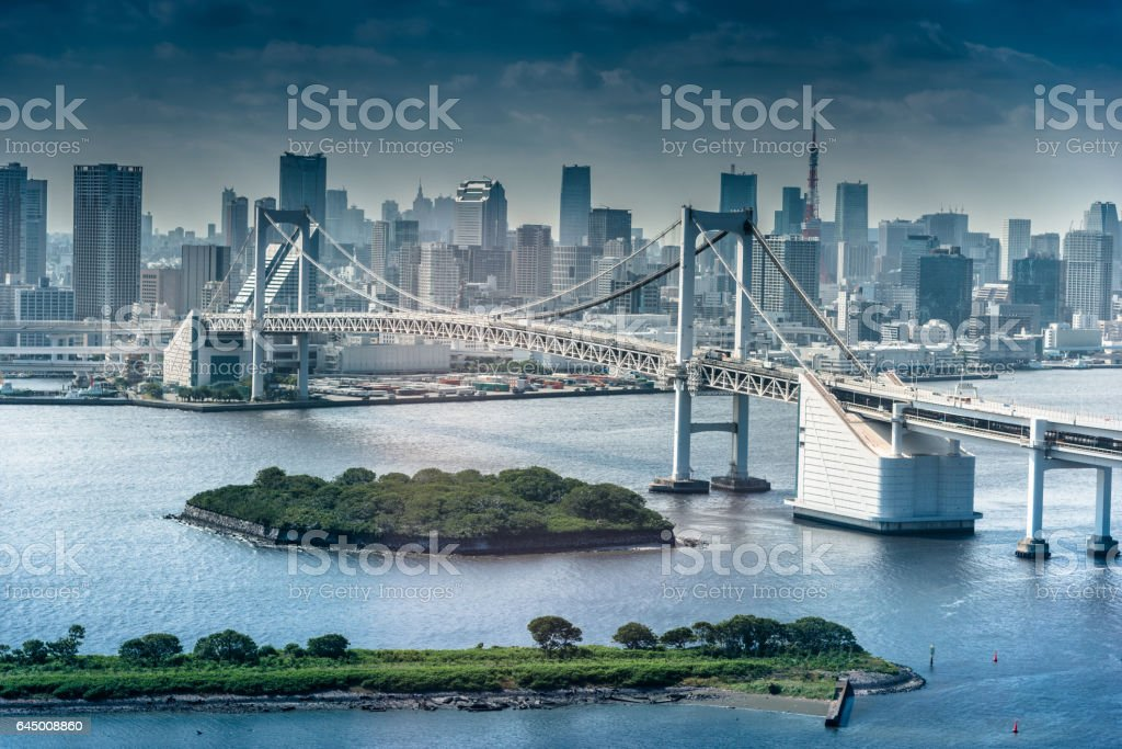 rainbow bridge in Tokyo stock photo