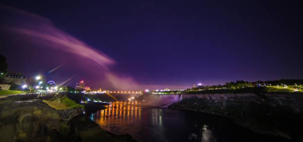 Rainbow Bridge Niagara Falls American Falls US - Canada border , Niagara Falls Rainbow Bridge at night Canada Ontario  rainbow bridge ontario stock pictures, royalty-free photos & images