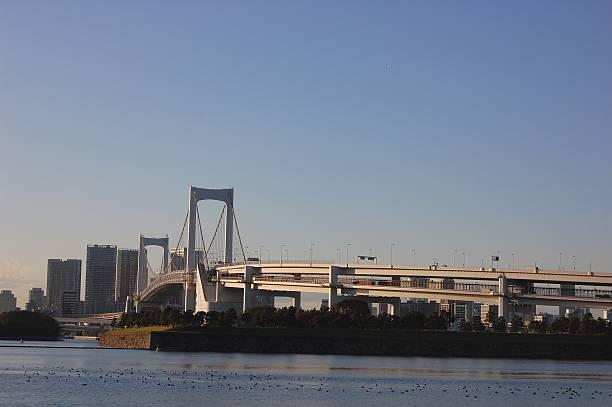 Rainbow bridge, Odaiba stock photo