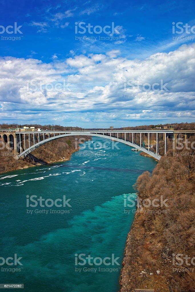 Rainbow Bridge over Niagara River Gorge stock photo