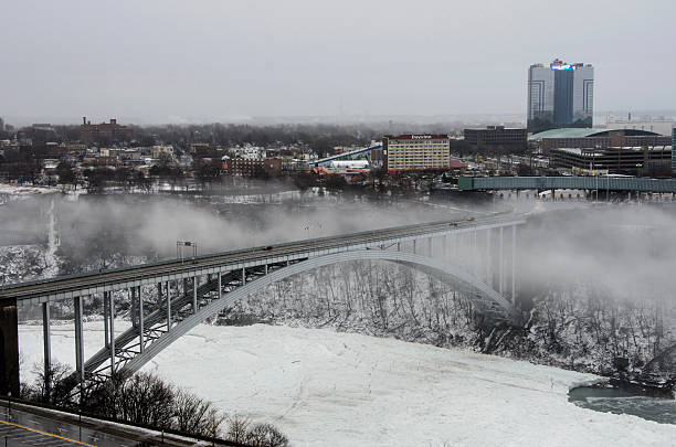 Rainbow Bridge Rainow Bridge in Ontario, Canada: Jan. 11, 2014: The Rainbow bridge over the frozen Niagara River rainbow bridge ontario stock pictures, royalty-free photos & images