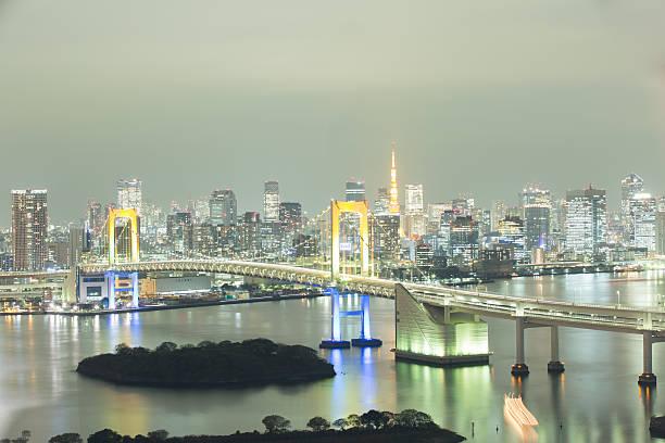 Rainbow Bridge レインボーブリッジと東京タワーを撮影したストックフォト素材。 rainbow bridge ontario stock pictures, royalty-free photos & images