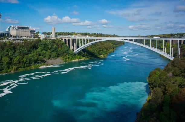 Rainbow Bridge Bridge - Built Structure, Canada, Niagara Falls, Rainbow Bridge - Ontario, International Landmark rainbow bridge ontario stock pictures, royalty-free photos & images