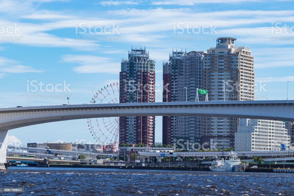 Rainbow Bridge side of the landscape seen from Toyosu Park5 stock photo