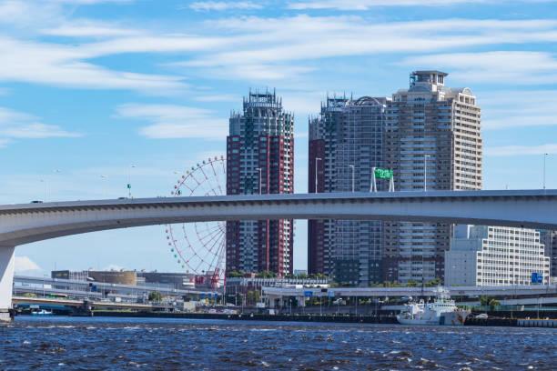 Rainbow Bridge side of the landscape seen from Toyosu Park5 stock photo