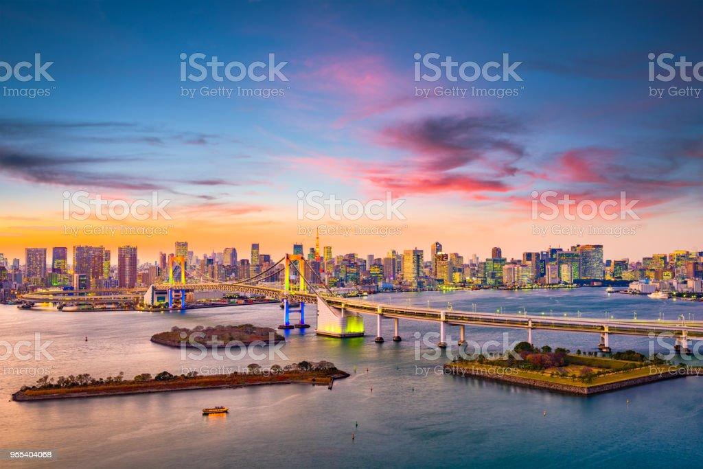 Rainbow Bridge Tokyo Japan - Zbiór zdjęć royalty-free (Architektura)