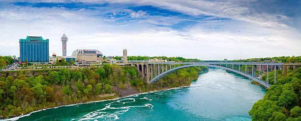 Rainbow Bridge USA to Canada Rainbow bridge connecting to Canada on Niagara river rainbow bridge ontario stock pictures, royalty-free photos & images