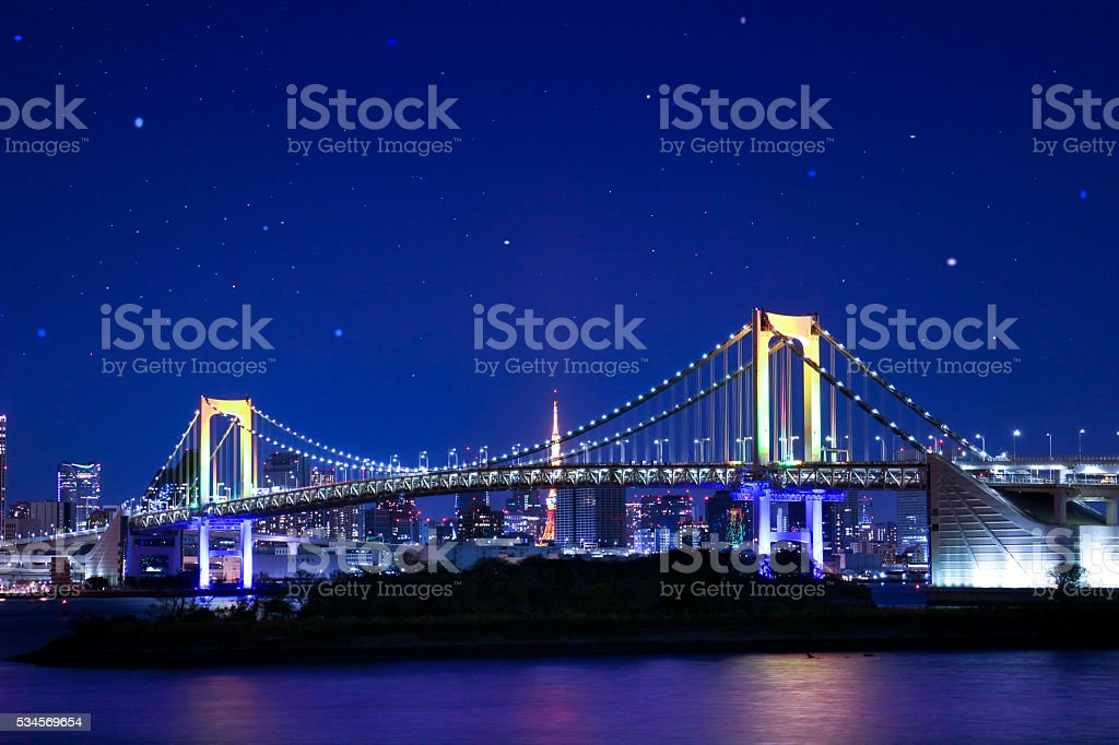 Rainbow Bridge with the starry heavens. stock photo