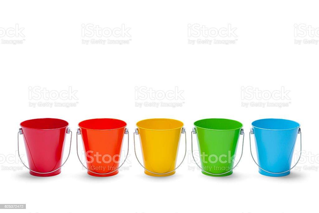 Rainbow Buckets stock photo