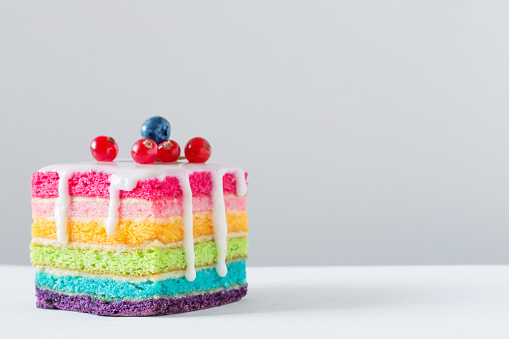rainbow cake on white background