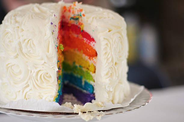 rainbow-kuchen  - orange hochzeitstorten stock-fotos und bilder
