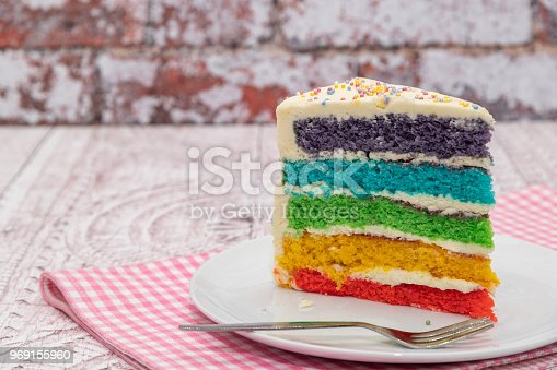 Slice of Rainbow sponge cake