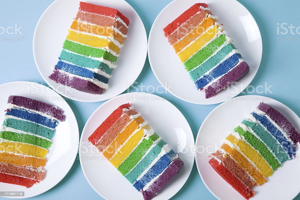 Rainbow Cakes stock photo