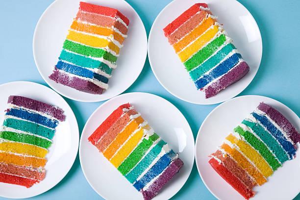 arcobaleno torte - arcobaleno foto e immagini stock