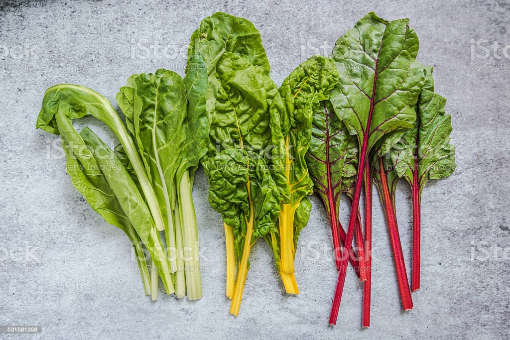 Rainbow chard, clean eating and dieting concept stock photo