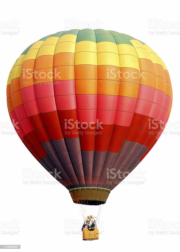 Rainbow Checkered Hot Air Balloon Isolated on White stock photo