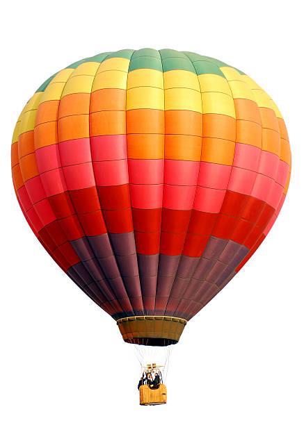 arc-en-ciel damiers montgolfière isolé sur blanc - montgolfière photos et images de collection
