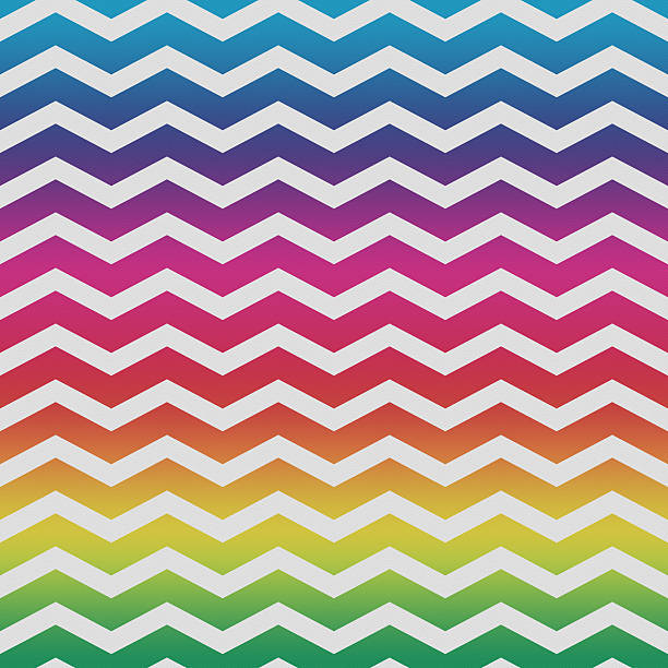 rainbow chevron pattern on paper - chevron stock photos and pictures