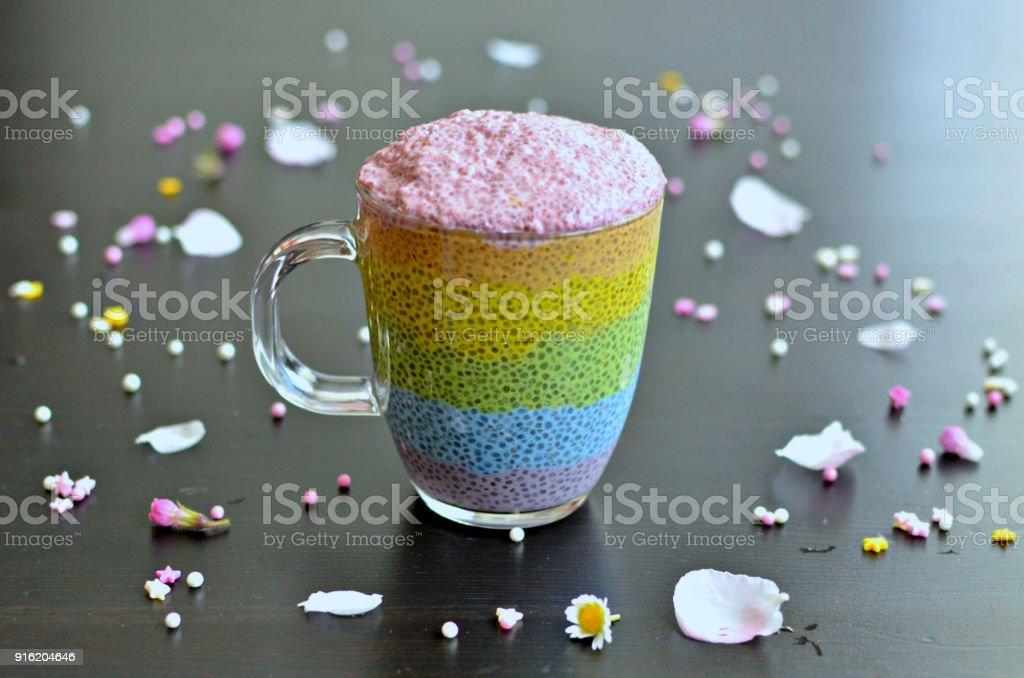 Rainbow chia pudding jar stock photo