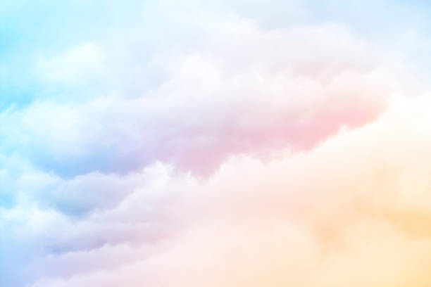 rainbow clouds - pastel colored stock pictures, royalty-free photos & images
