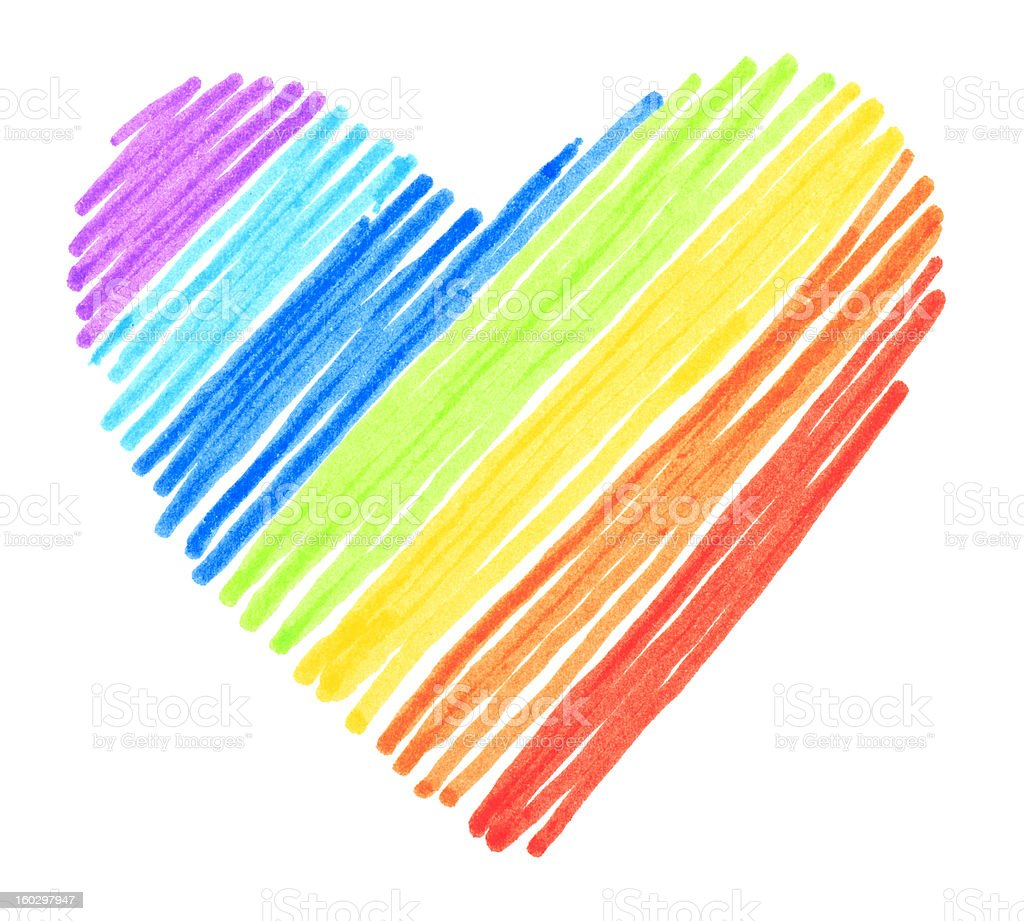Rainbow color drawing stroke heart shape royalty-free stock photo