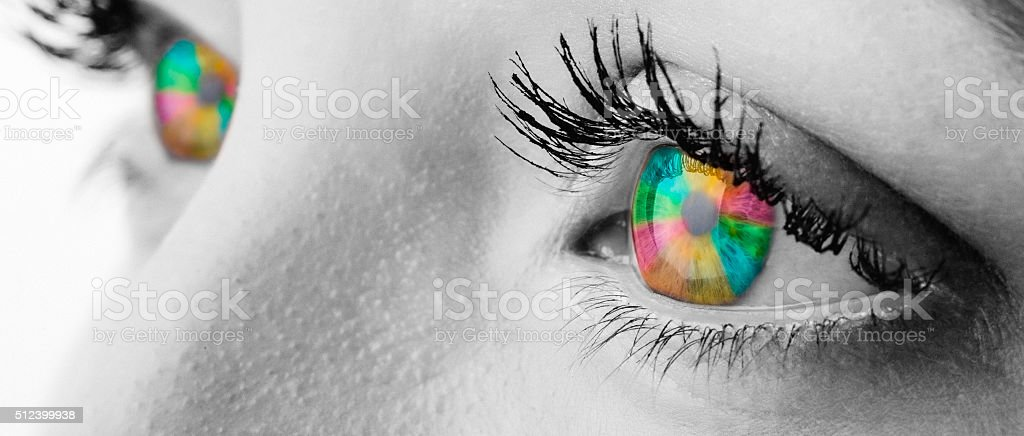 Rainbow color eyes stock photo