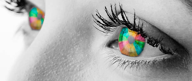 regenbogen farbe augen - illustration optician stock-fotos und bilder