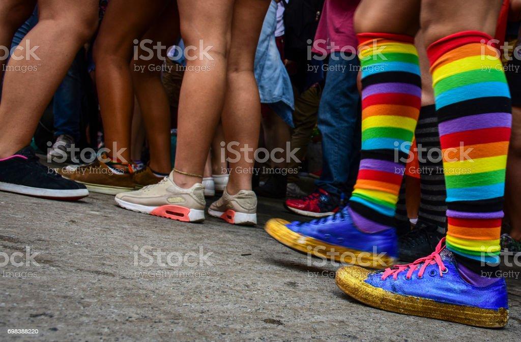 LGBT Rainbow Color socks stock photo