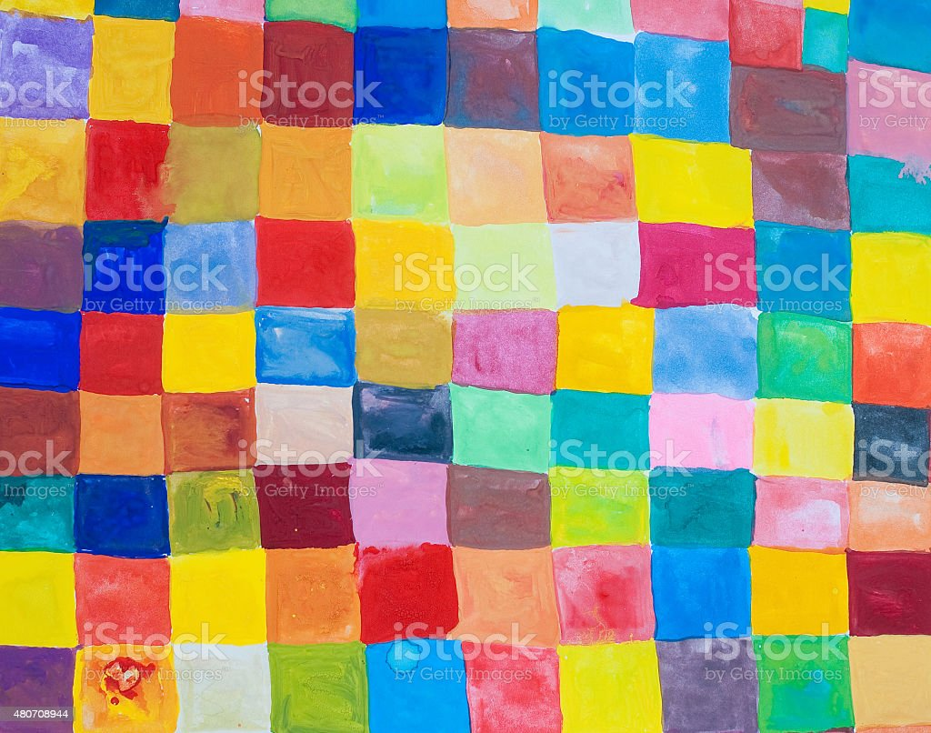 rainbow color squares - painted colorful background stock photo