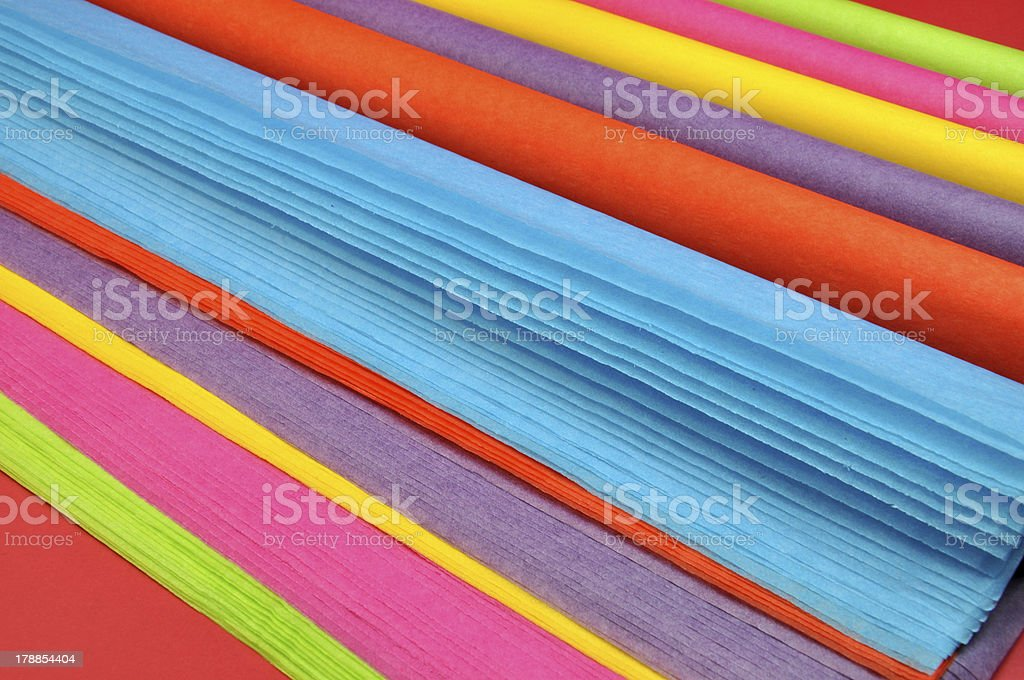 Rainbow color tissue wrapping paper. stock photo