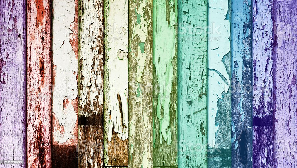 Rainbow Color Weathered Wood, Gay Color Symbol stock photo