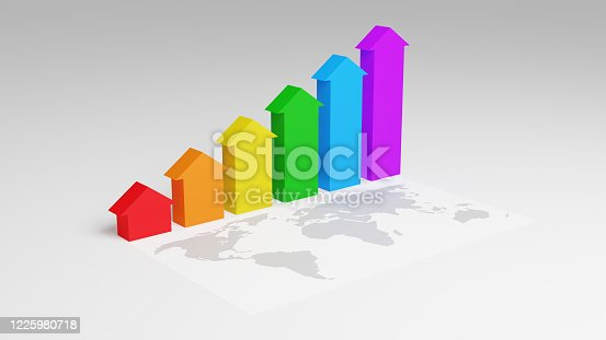 1014755036 istock photo Rainbow colored arrows are growing from zero to up above the world map. Concept of business growth and economic theme in the world. 3D render. 1225980718