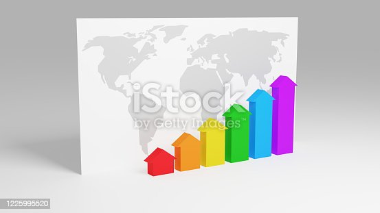 1014755036 istock photo Rainbow colored arrows are growing from zero to up in front of white table with world map. Concept of growing world bussines, economic and financial. Modern design, graph style. 3D render. 1225995520