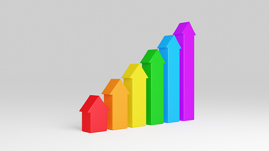 1023882582 istock photo Rainbow colored arrows are growing up from white ground. Concept of business growth from zero to up. Usable in finance business, adverts or as infographic. Colorful symbol, 3D render. 1225389894