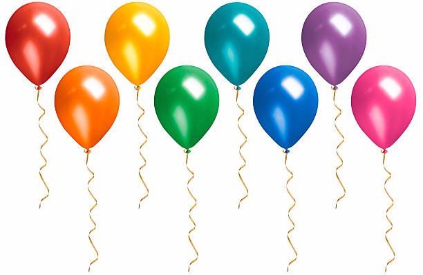 rainbow colored floating balloons with streamers isolated on white - blue yellow band bildbanksfoton och bilder