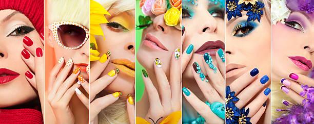 rainbow colored makeup and manicure. - gelnägel stock-fotos und bilder