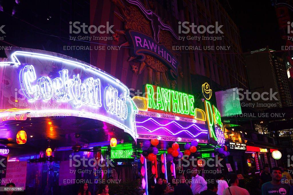 Rainbow colored neon lights of bars stock photo