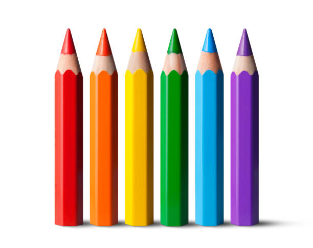 rainbow colored pencils - coloured pencil stock photos and pictures