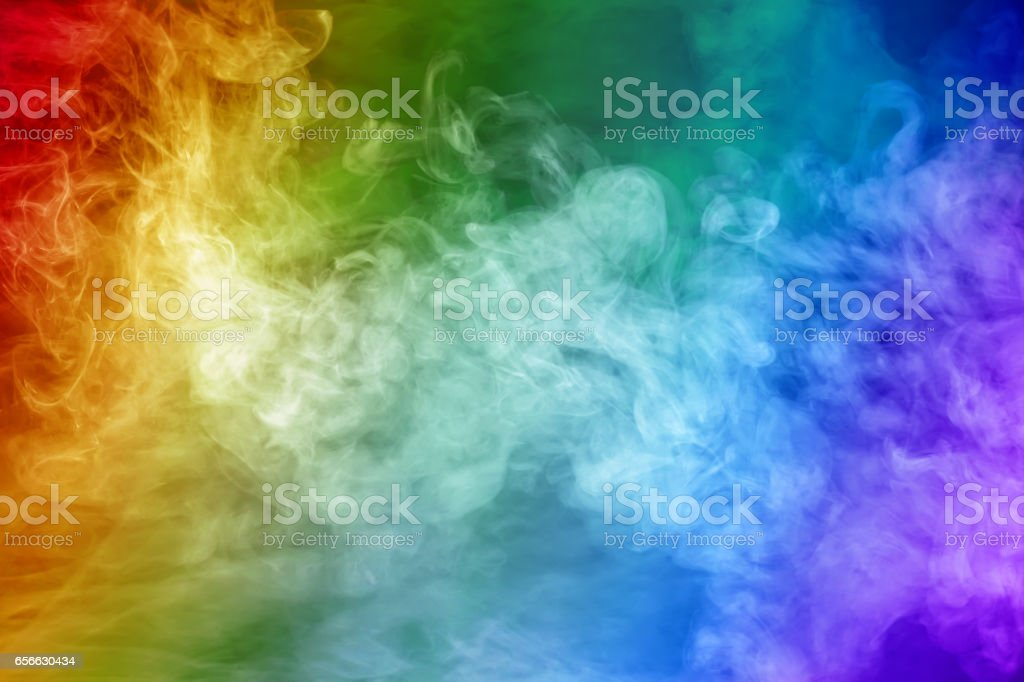 Rainbow colored smoke stock photo