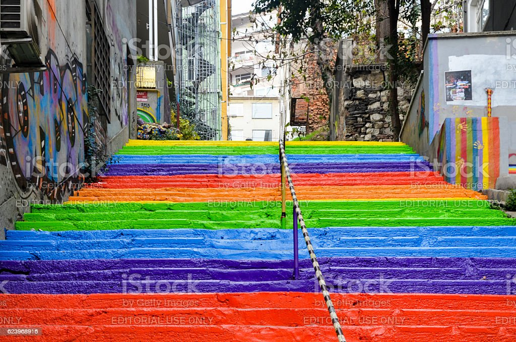 Rainbow colored stairs in Istanbul stock photo