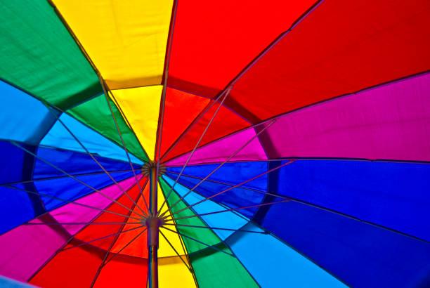 Regenboog gekleurde onderbuik van een geopende paraplu foto