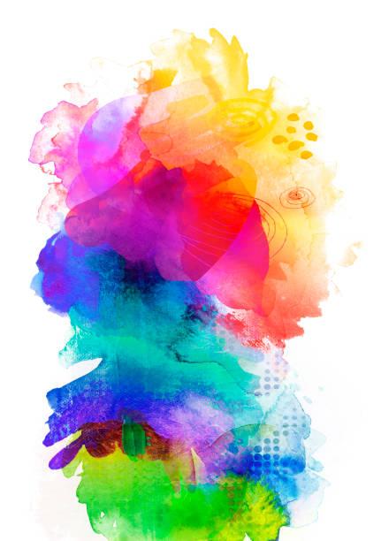 regenbogenfarbenen Aquarellfarben und Texturen auf weiß – Foto